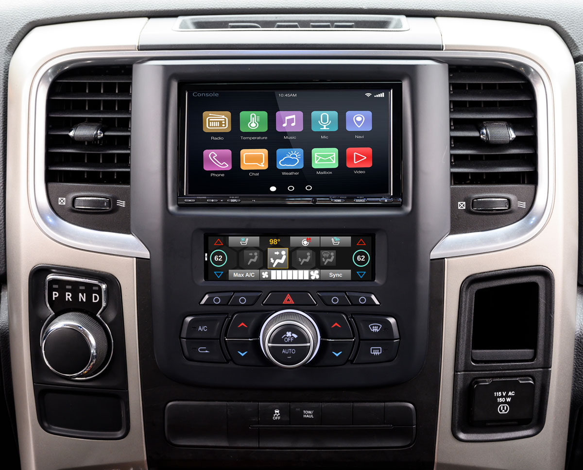 Ram Truck Integrated Dash Kit With Climate Control Retention Pac